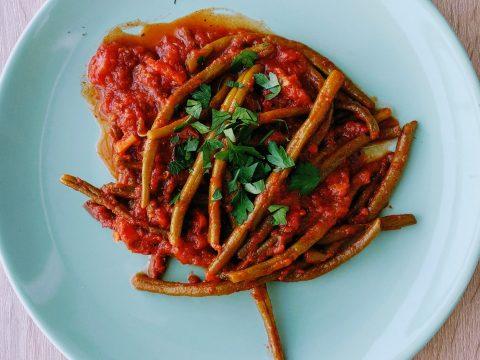 fasolka, pomidory, pomysł na obiad, kolacja